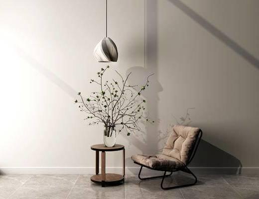 单椅, 吊灯, 边几, 现代
