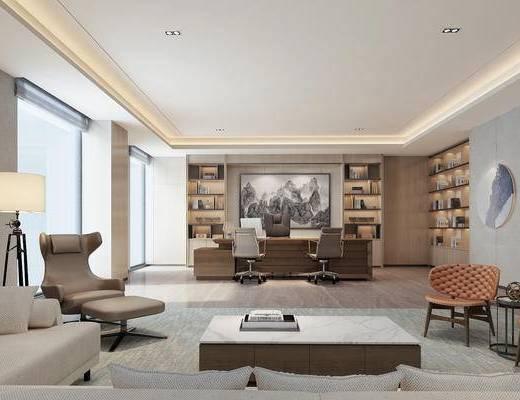 新中式, 办公桌, 办公椅, 办公室, 经理室, 沙发, 茶几, 落地灯, 沙发椅, 椅子, 置物架, 书本, 摆件, 1000套空间酷赠送模型