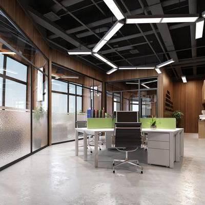 办公室, 吊灯, 桌子, 椅子, 置物柜, 盆栽, 工业风