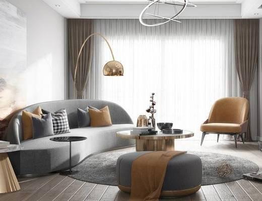 后现代, 客厅, 沙发, 茶几, 落地灯, 椅子, 摆件, 陈设品