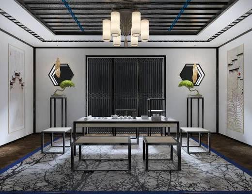 新中式茶室, 吊灯, 桌子, 椅子, 壁画, 边几, 凳子, 盆栽, 新中式