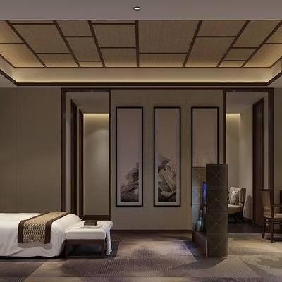 中式客房, 双人床, 床尾塌, 吊灯, 台灯, 桌子, 椅子, 落地灯, 多人沙发, 壁画, 地毯, 中式
