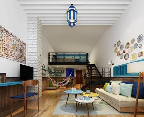 现代公寓, 多人沙发, 壁画, 吊灯, 桌子, 椅子, 茶几, 落地灯, 现代
