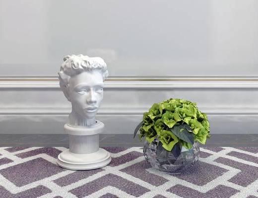 摆件组合, 花瓶, 雕塑, 简欧