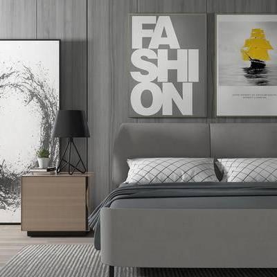 床具组合, 双人床, 边柜, 壁画, 台灯, 现代