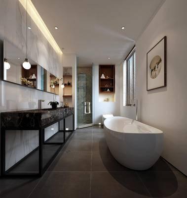 现代卫浴, 吊灯, 浴缸, 镜子, 置物柜, 洗手台, 现代