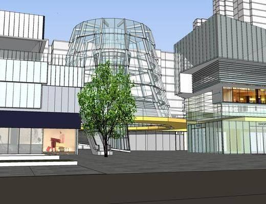 商业街, 街景, 户外, 现代, 商业中心