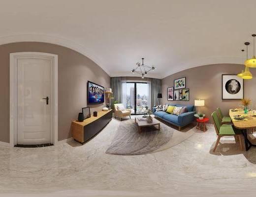 简欧客厅, 壁画, 吊灯, 电视柜, 多人沙发, 茶几, 边几, 台灯, 桌子, 椅子, 地毯, 简欧