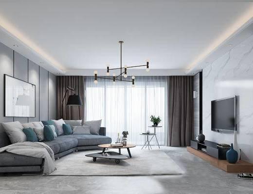 现代客厅, 电视柜, 吊灯, 多人沙发, 茶几, 壁画, 现代