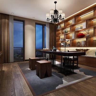 新中式书房, 吊灯, 桌子, 椅子, 置物柜, 壁画, 边柜, 凳子, 地毯, 新中式