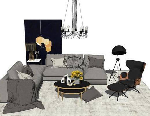 沙发组合, 多人沙发, 茶几, 椅子, 落地灯, 吊灯, 现代