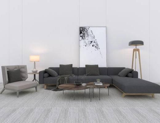 北欧, 沙发, 茶几, 落地灯, 台灯, 装饰画, 单椅, 盆栽