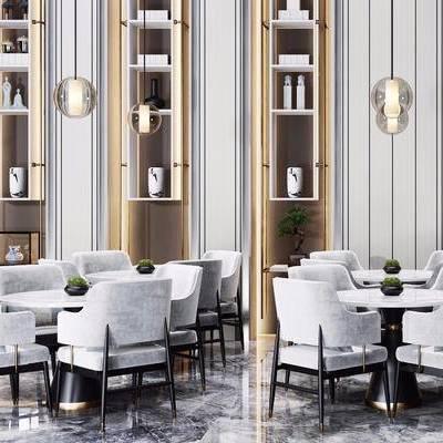 新中式, 大厅, 休息室, 吊灯, 桌椅组合, 置物架, 1000套空间酷赠送模型