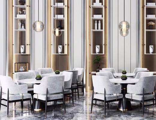 新中式, 大厅, 休息室, 吊灯, 桌椅组合, 置物架