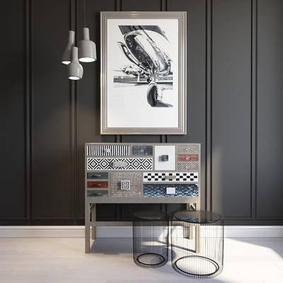 玄关柜, 边柜, 吊灯, 装饰画, 现代