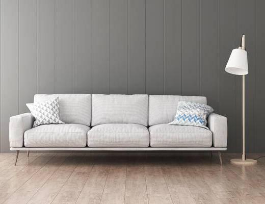 沙发组合, 多人沙发, 落地灯, 现代