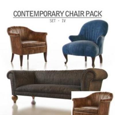 美式多人沙发, 多人沙发, 单人沙发, 沙发