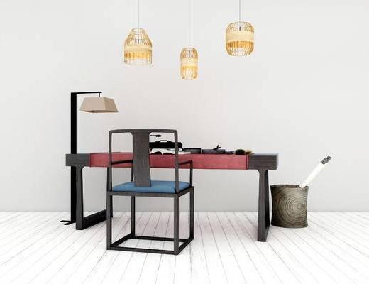桌椅组织, 桌子, 椅子, 吊灯, 新中式