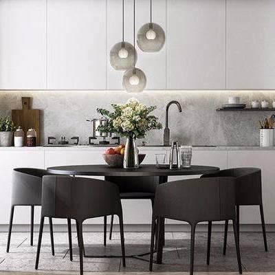 现代餐桌椅组合, 吊灯, 厨具, 菜板, 餐具, 橱柜, 储物柜, 现代
