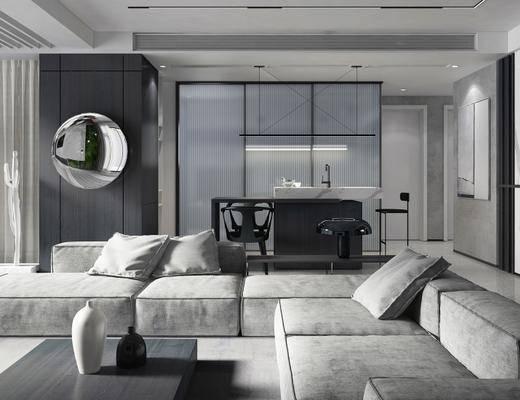 现代客厅, 多人沙发, 茶几, 桌椅组合, 壁画, 现代