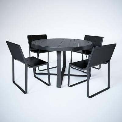 现代, 桌几, 餐桌, 单椅, 组合