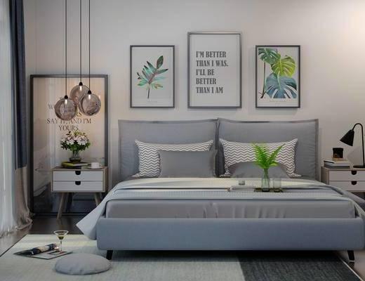 床具组合, 壁画, 双人床, 吊灯, 边柜, 台灯, 地毯, 北欧