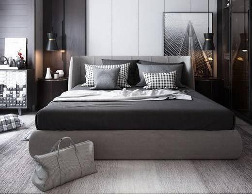 床具组合, 双人床, 吊灯, 边几, 装饰画, 边柜, 沙发凳, 现代