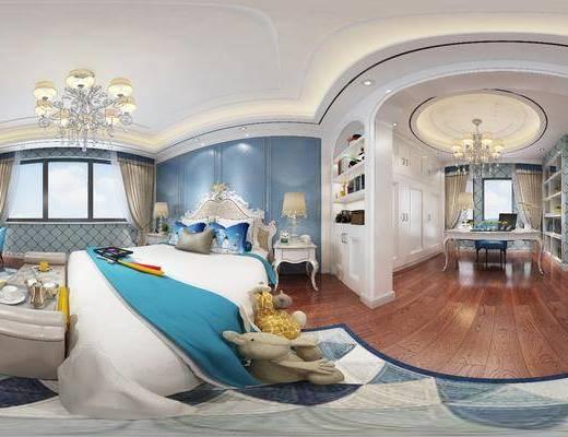 欧式卧室, 双人床, 床尾塌, 桌子, 椅子, 床头柜, 吊灯, 台灯, 欧式