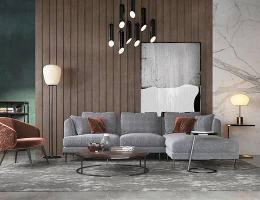 现代沙发组合, 转角沙发, 茶几, 单椅, 落地灯, 吊灯, 现代