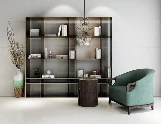 书柜, 椅子, 圆几, 吊灯, 新中式