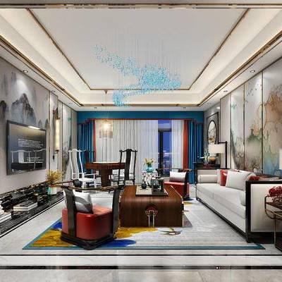 新中式会客厅, 会客厅, 客厅, 沙发, 茶几, 电视柜