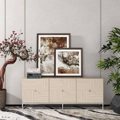 边柜, 壁画, 盆栽, 新中式