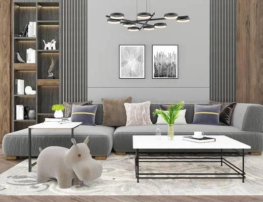 沙发组合, 多人沙发, 茶几, 吊灯, 置物柜, 壁画, 现代