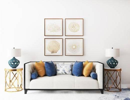 沙发组合, 多人沙发, 壁画, 圆几, 台灯, 后现代