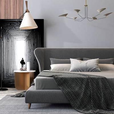床具组合, 双人床, 吊灯, 壁画, 边几, 落地灯, 现代