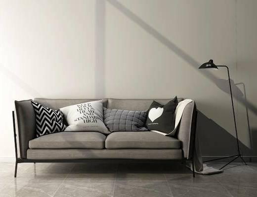 双人沙发, 落地灯, 现代