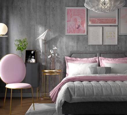 床具组合, 壁画, 双人床, 边几, 椅子, 吊灯, 花瓶, 北欧
