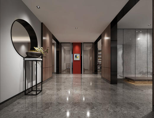玄关走廊, 壁画, 边几, 盆栽, 中式