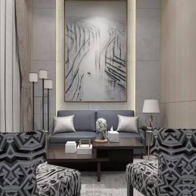 新古典客厅, 沙发茶几组合, 壁画, 吊灯, 落地灯, 多人沙发, 单人沙发, 台灯, 新古典