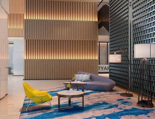 现代, 休息室, 单椅, 桌几, 落地灯, 地毯, 1000套空间酷赠送模型