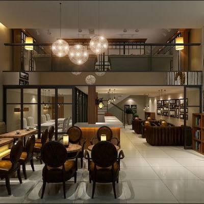 现代咖啡厅, 吊灯, 置物柜, 壁画, 桌子, 椅子, 现代