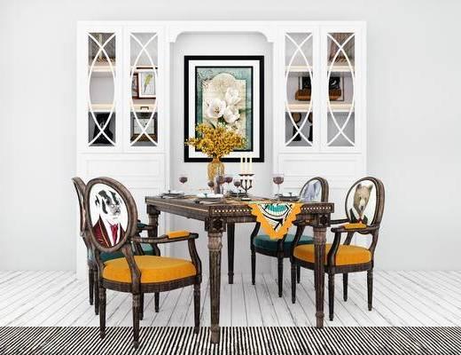 桌椅组合, 桌子, 椅子, 置物柜, 现代