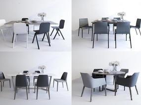 现代简约, 桌椅组合, 摆设品