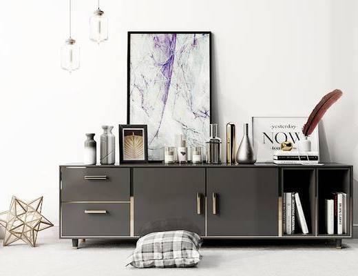 摆件组合, 电视柜, 装饰画, 吊灯, 现代