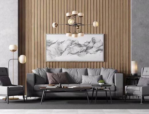 现代简约, 吊灯, 沙发茶几组合, 植物盆栽