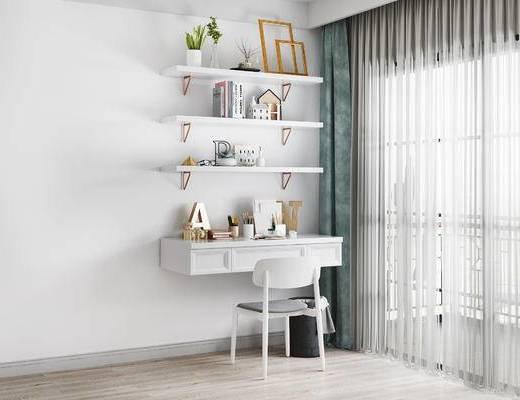 书桌, 椅子, 书籍, 北欧