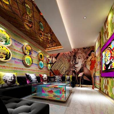 KTV, 茶几, 壁画, 多人沙发, 现代