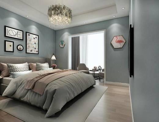 北欧卧室, 双人床, 吊灯, 壁画, 椅子, 边几, 北欧