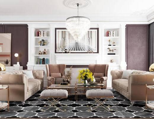沙发组合, 茶几, 吊灯, 装饰画, 装饰柜