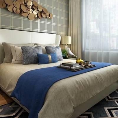 现代简约, 卧室, 墙饰, 床具组合, 陈设品组合